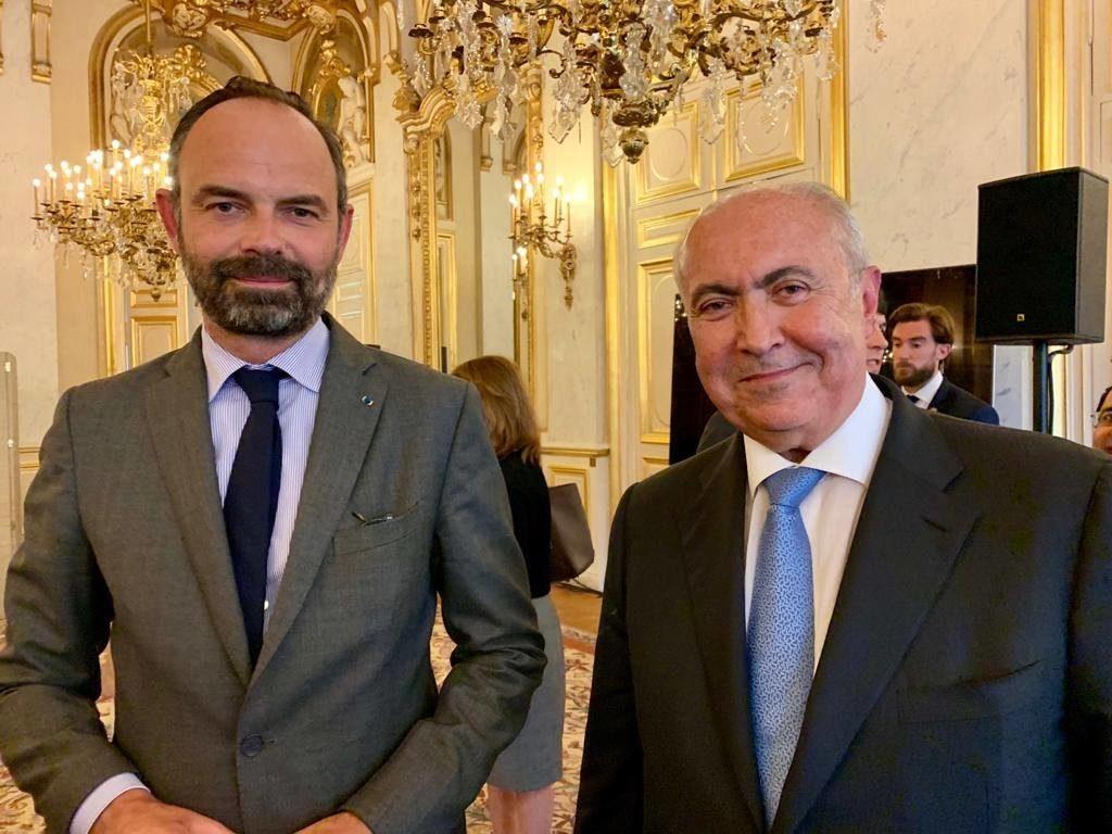 فؤاد مخزومي و رئيس الوزراء الفرنسي إدوار فيليب